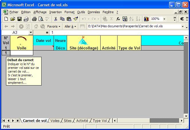 Carnet de vol sur Excel